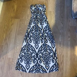 Beige and Black Vintage Maxi Dress